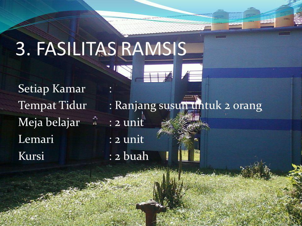 3. FASILITAS RAMSIS Setiap Kamar: Tempat Tidur: Ranjang susun untuk 2 orang Meja belajar: 2 unit Lemari: 2 unit Kursi: 2 buah