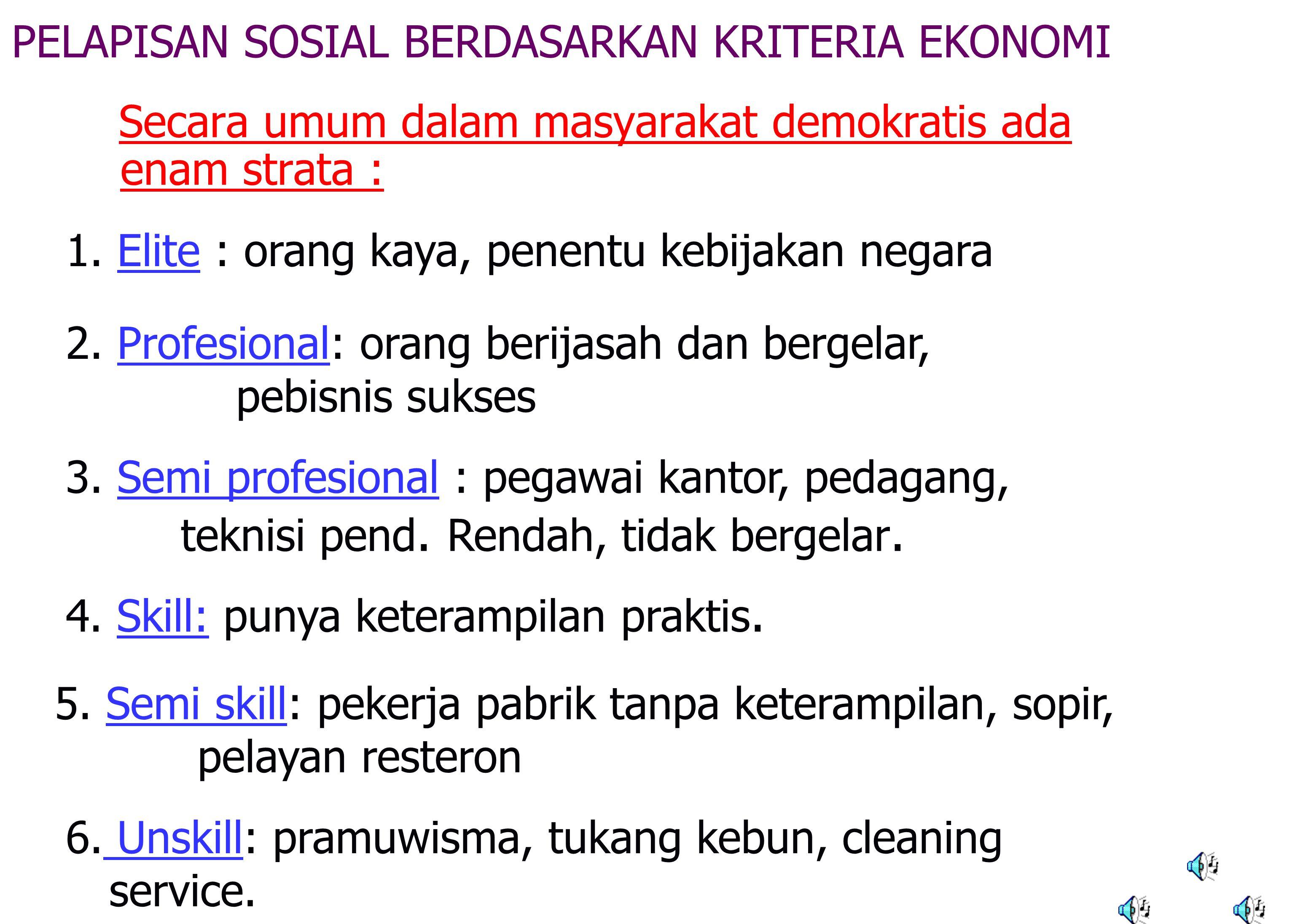 Menurut Karl Marx : 1. Kapitalis/borjuis : menguasai tanah dan alat produksi 2.
