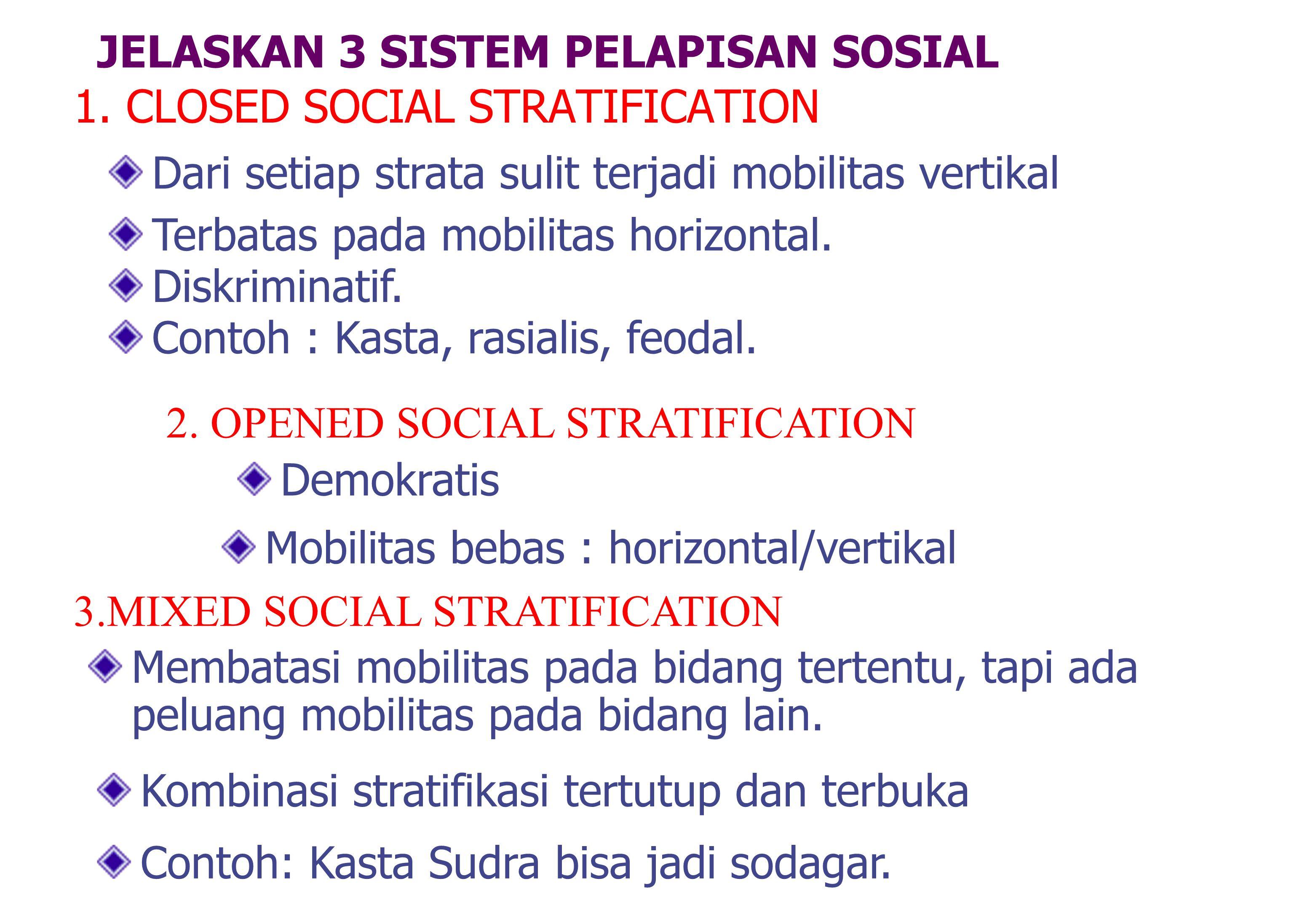 JELASKAN 3 SISTEM PELAPISAN SOSIAL 1.CLOSED SOCIAL STRATIFICATION 2.