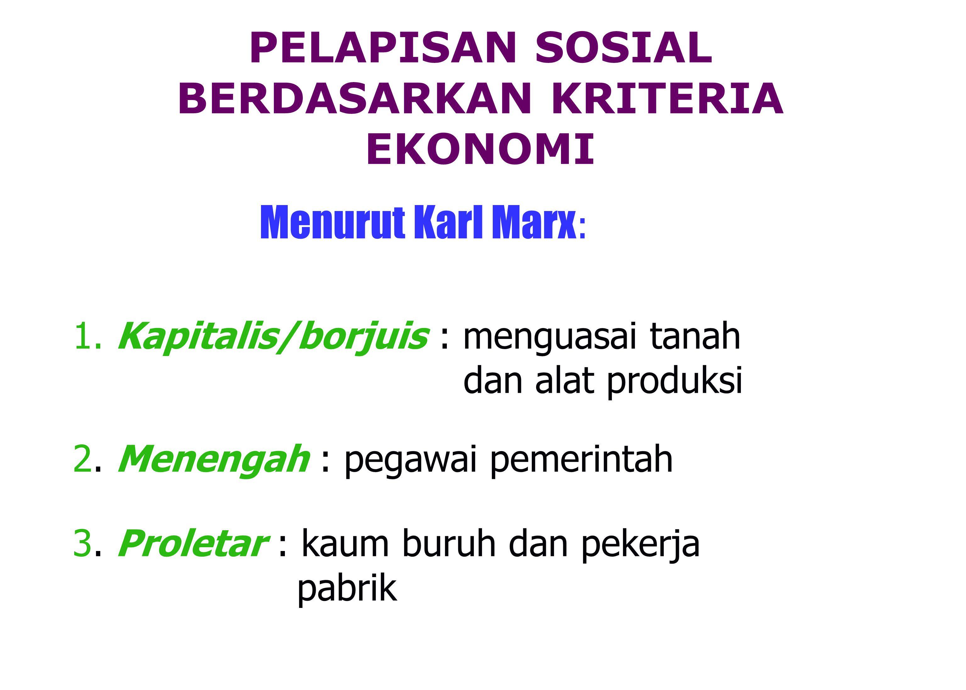 Menurut Karl Marx : 1.Kapitalis/borjuis : menguasai tanah dan alat produksi 2.