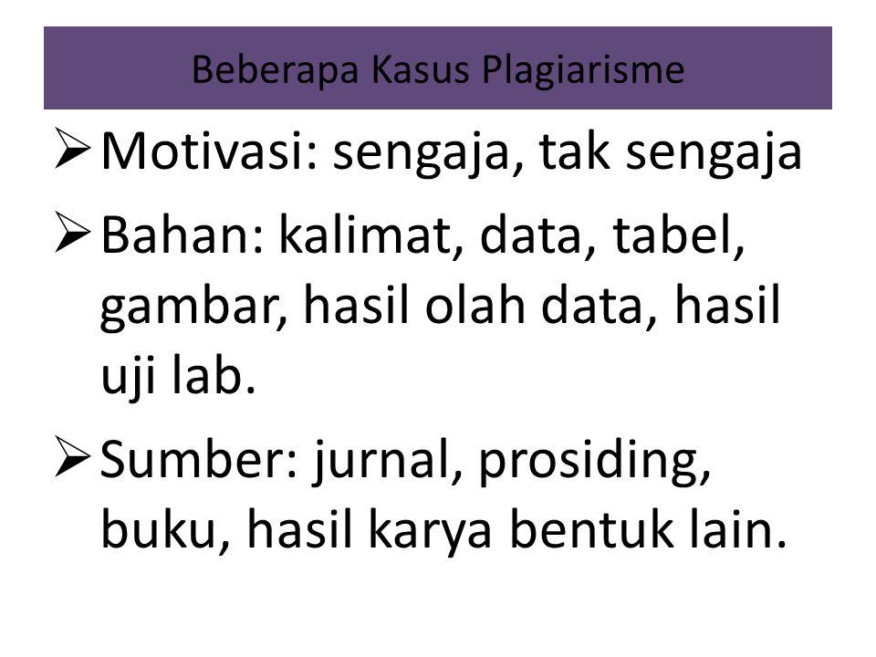 Beberapa Kasus Plagiarisme  Motivasi: sengaja, tak sengaja  Bahan: kalimat, data, tabel, gambar, hasil olah data, hasil uji lab.  Sumber: jurnal, p