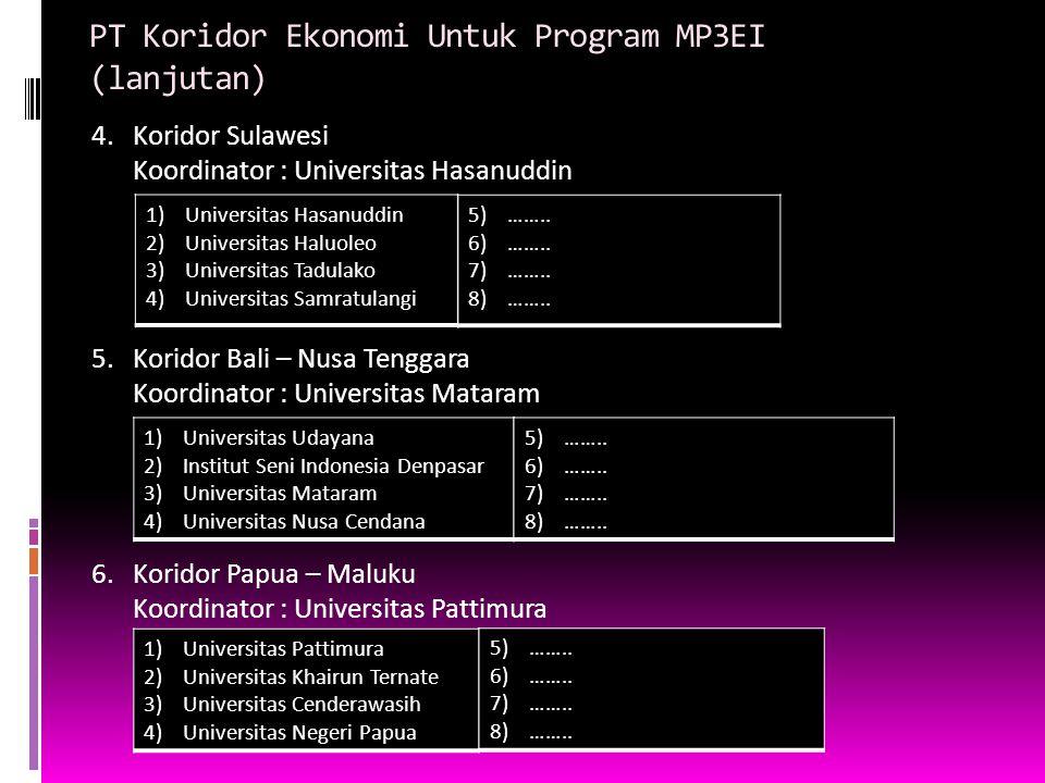 PT Koridor Ekonomi Untuk Program MP3EI (lanjutan) 4.Koridor Sulawesi Koordinator : Universitas Hasanuddin 5.Koridor Bali – Nusa Tenggara Koordinator :
