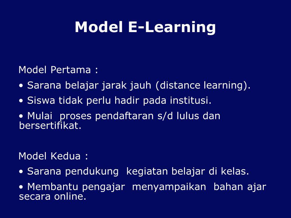 Model E-Learning Model Pertama : Sarana belajar jarak jauh (distance learning).