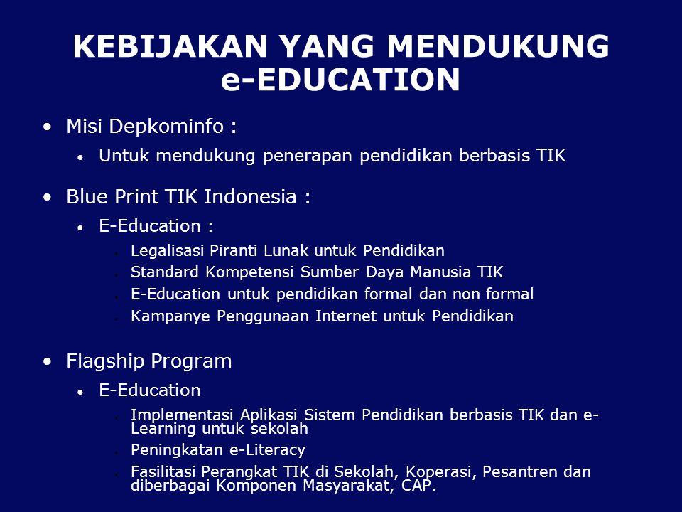 KEBIJAKAN YANG MENDUKUNG e-EDUCATION Misi Depkominfo : Untuk mendukung penerapan pendidikan berbasis TIK Blue Print TIK Indonesia : E-Education : Legalisasi Piranti Lunak untuk Pendidikan Standard Kompetensi Sumber Daya Manusia TIK E-Education untuk pendidikan formal dan non formal Kampanye Penggunaan Internet untuk Pendidikan Flagship Program E-Education Implementasi Aplikasi Sistem Pendidikan berbasis TIK dan e- Learning untuk sekolah Peningkatan e-Literacy Fasilitasi Perangkat TIK di Sekolah, Koperasi, Pesantren dan diberbagai Komponen Masyarakat, CAP.