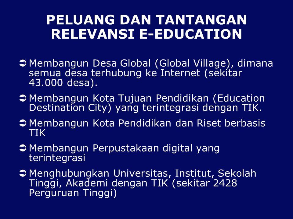 PELUANG DAN TANTANGAN RELEVANSI E-EDUCATION  Membangun Desa Global (Global Village), dimana semua desa terhubung ke Internet (sekitar 43.000 desa).