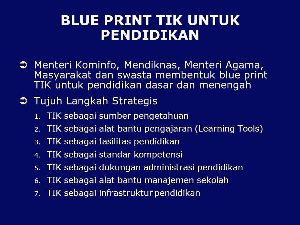 BLUE PRINT TIK UNTUK PENDIDIKAN  Menteri Kominfo, Mendiknas, Menteri Agama, Masyarakat dan swasta membentuk blue print TIK untuk pendidikan dasar dan
