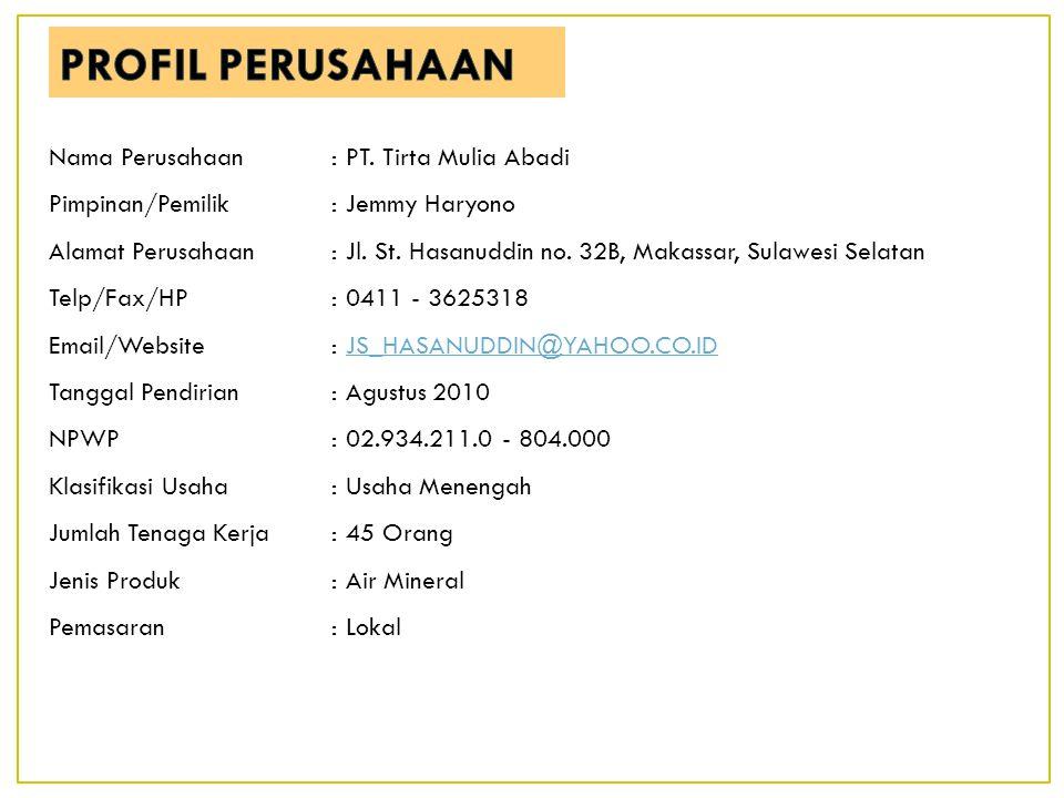 Nama Perusahaan:PT. Tirta Mulia Abadi Pimpinan/Pemilik:Jemmy Haryono Alamat Perusahaan:Jl. St. Hasanuddin no. 32B, Makassar, Sulawesi Selatan Telp/Fax