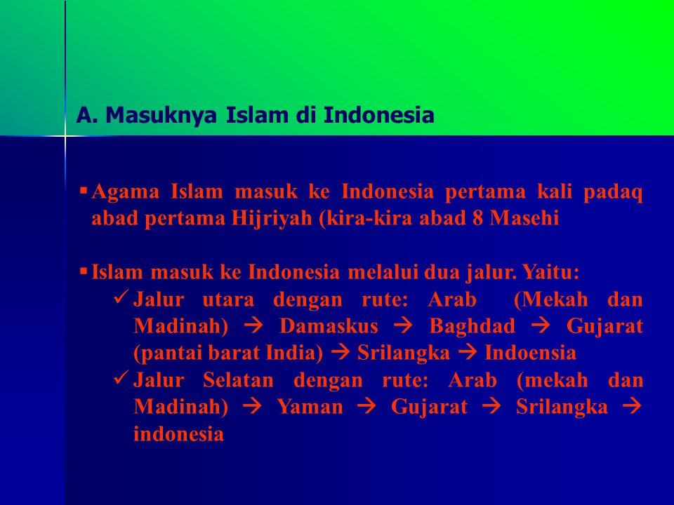 A. Masuknya Islam di Indonesia AA gama Islam masuk ke Indonesia pertama kali padaq abad pertama Hijriyah (kira-kira abad 8 Masehi II slam masuk ke