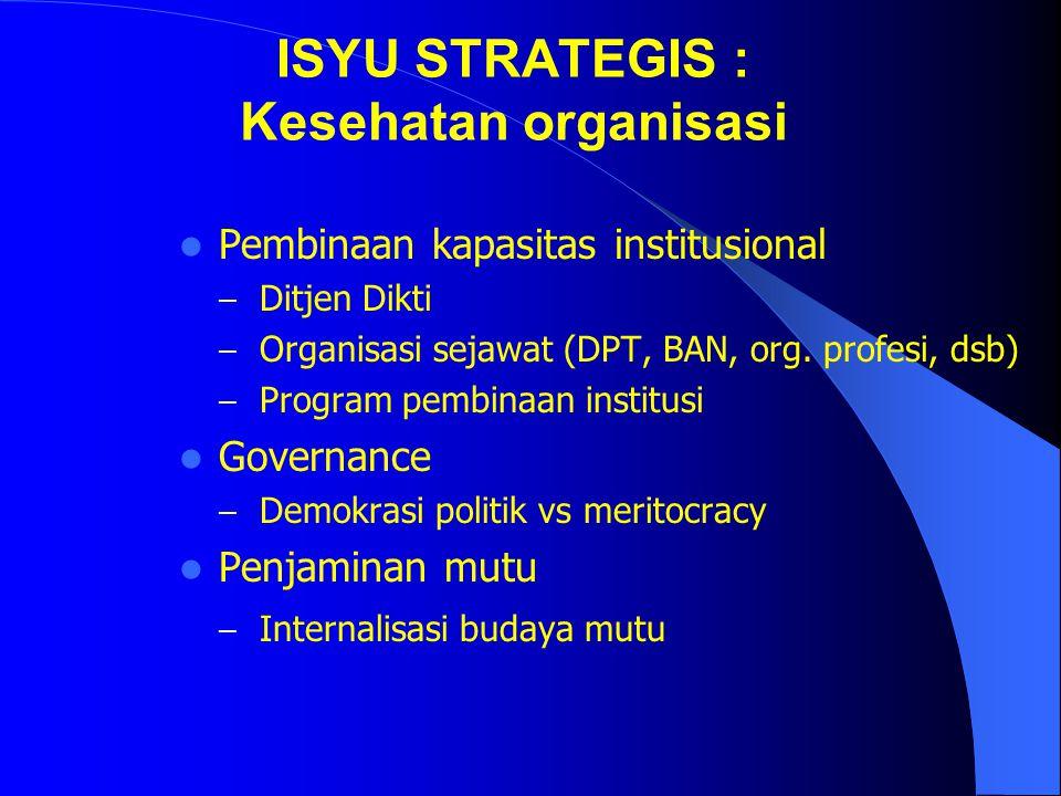 ISYU STRATEGIS : Otonomi dan desentralisasi Pergeseran peran Ditjen Dikti – Fasilitator, sosialisasi kebijakan, evaluasi, dan tindakan korektif, infra