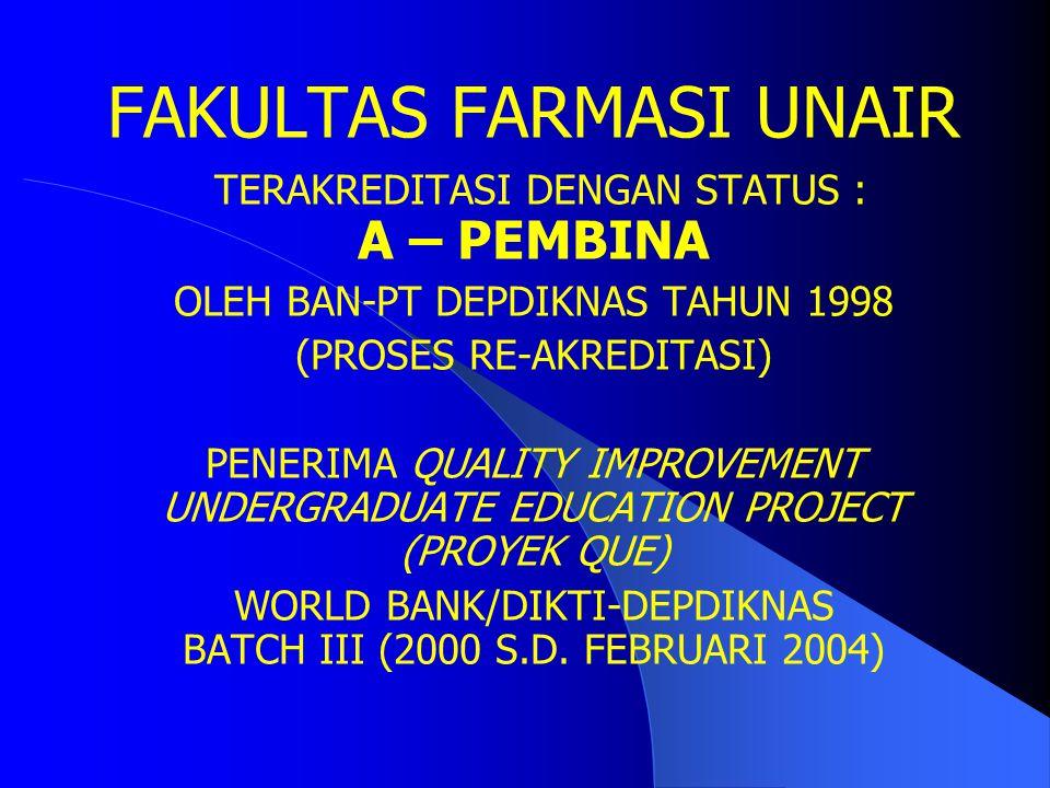 FAKULTAS FARMASI Universitas Airlangga (UNAIR) merupakan fakultas monoprogram yaitu Program pendidikan/studi : farmasi (Pendidikan S-1 ; sarjana farma