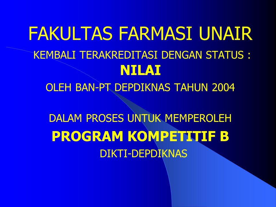 FAKULTAS FARMASI UNAIR TERAKREDITASI DENGAN STATUS : A – PEMBINA OLEH BAN-PT DEPDIKNAS TAHUN 1998 (PROSES RE-AKREDITASI) PENERIMA QUALITY IMPROVEMENT