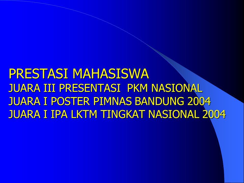 PRESTASI MAHASISWA IPK TERBAIK AKHIR SEM GENAP 2003/2004 SPMB 2001 WENNY PUTRI 3,84 2002 AGUSTINA 3,93 2003 MARIO SENTOSA 3,85 PMDK 2001 MEGAWATI 3,33
