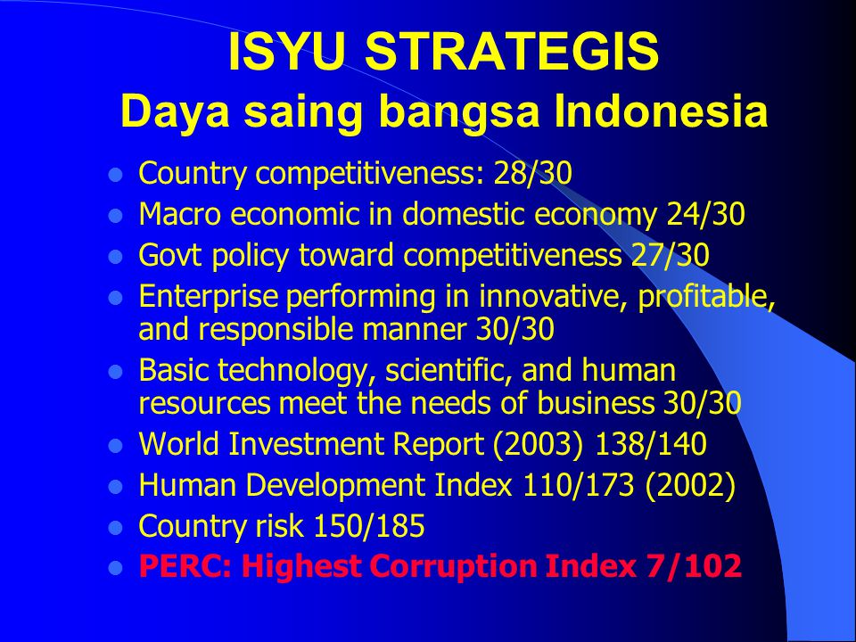 ISYU STRATEGIS Daya saing bangsa Indonesia Country competitiveness: 28/30 Macro economic in domestic economy 24/30 Govt policy toward competitiveness 27/30 Enterprise performing in innovative, profitable, and responsible manner 30/30 Basic technology, scientific, and human resources meet the needs of business 30/30 World Investment Report (2003) 138/140 Human Development Index 110/173 (2002) Country risk 150/185 PERC: Highest Corruption Index 7/102