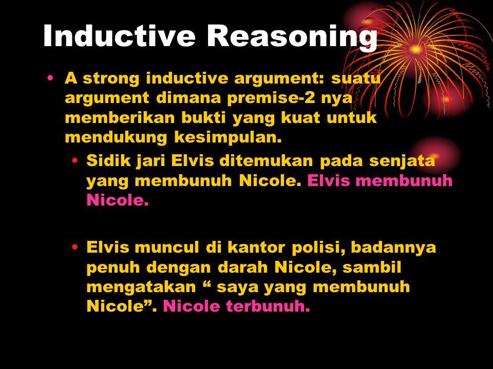 Inductive Reasoning A strong inductive argument: suatu argument dimana premise-2 nya memberikan bukti yang kuat untuk mendukung kesimpulan. Sidik jari