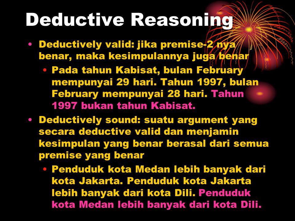 Deductive Reasoning Deductively valid: jika premise-2 nya benar, maka kesimpulannya juga benar Pada tahun Kabisat, bulan February mempunyai 29 hari. T