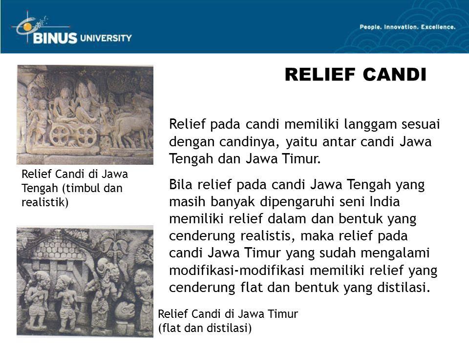 RELIEF CANDI Relief pada candi memiliki langgam sesuai dengan candinya, yaitu antar candi Jawa Tengah dan Jawa Timur.