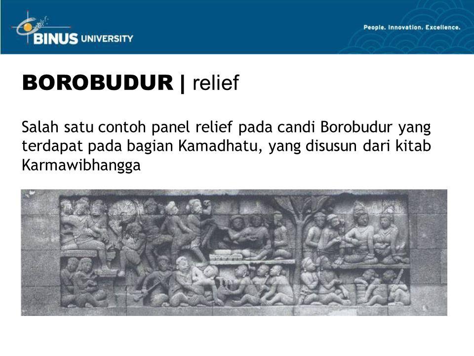 Salah satu contoh panel relief pada candi Borobudur yang terdapat pada bagian Kamadhatu, yang disusun dari kitab Karmawibhangga BOROBUDUR | relief
