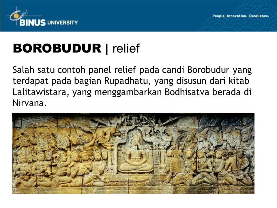 Salah satu contoh panel relief pada candi Borobudur yang terdapat pada bagian Rupadhatu, yang disusun dari kitab Lalitawistara, yang menggambarkan Bodhisatva berada di Nirvana.