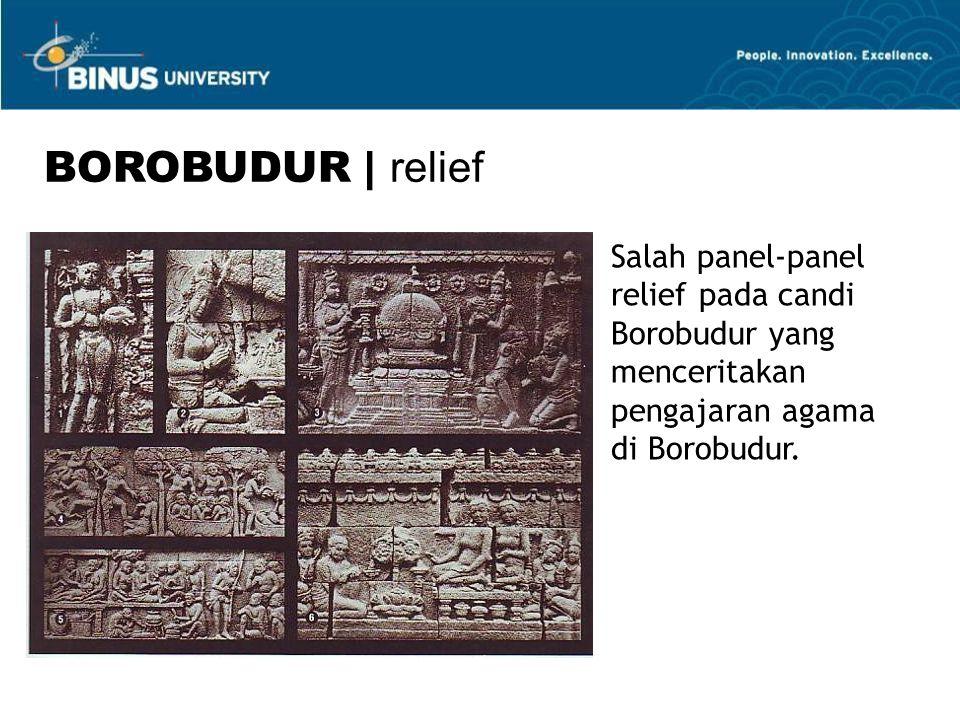 Salah panel-panel relief pada candi Borobudur yang menceritakan pengajaran agama di Borobudur.