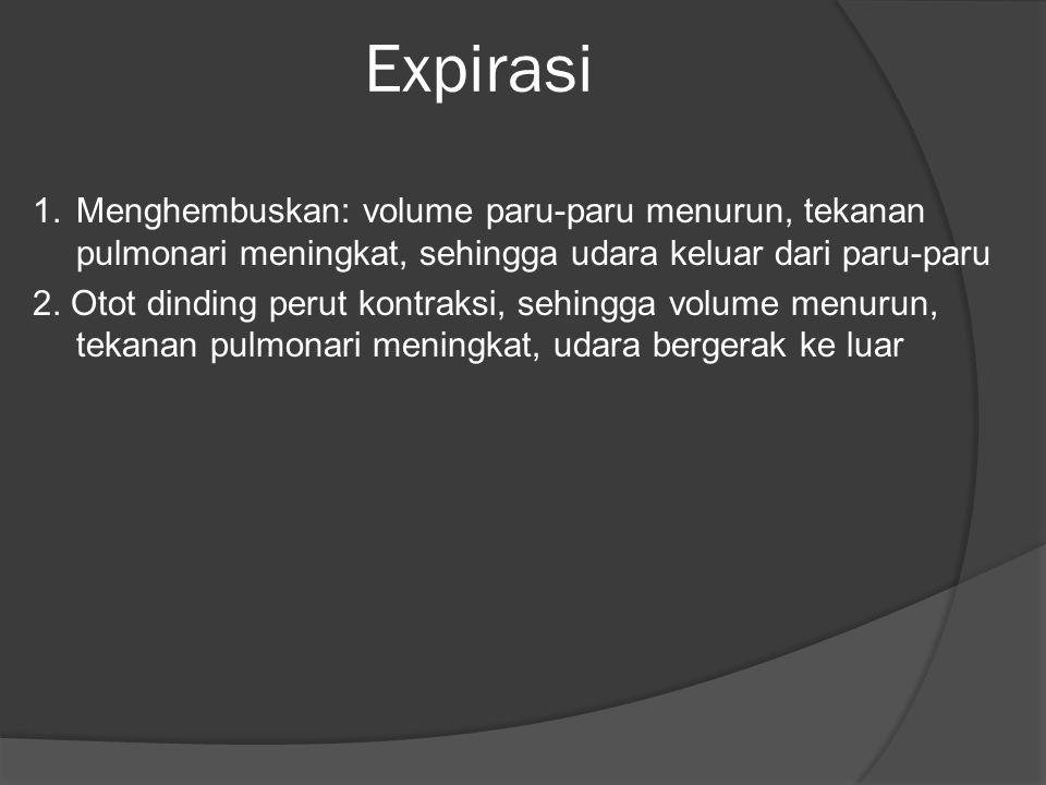 Expirasi 1.Menghembuskan: volume paru-paru menurun, tekanan pulmonari meningkat, sehingga udara keluar dari paru-paru 2. Otot dinding perut kontraksi,