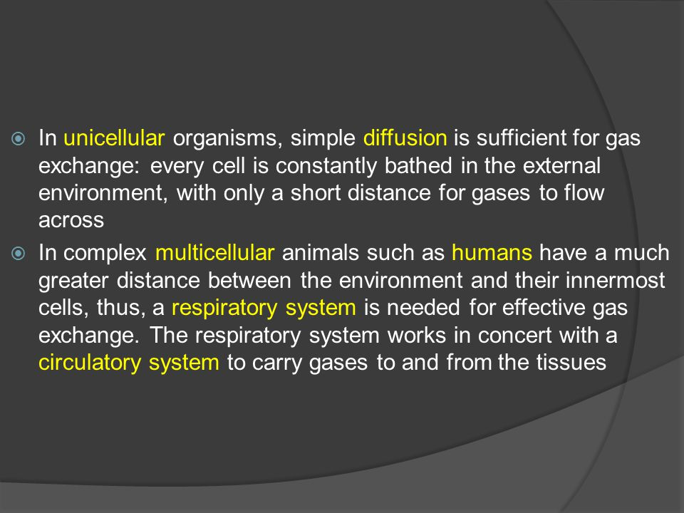  In unicellular organisms, simple diffusion is sufficient for gas exchange: every cell is constantly bathed in the external environment, with only a short distance for gases to flow across  In complex multicellular animals such as humans have a much greater distance between the environment and their innermost cells, thus, a respiratory system is needed for effective gas exchange.