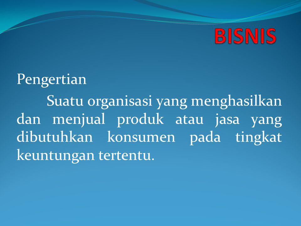 Pengertian Suatu organisasi yang menghasilkan dan menjual produk atau jasa yang dibutuhkan konsumen pada tingkat keuntungan tertentu.