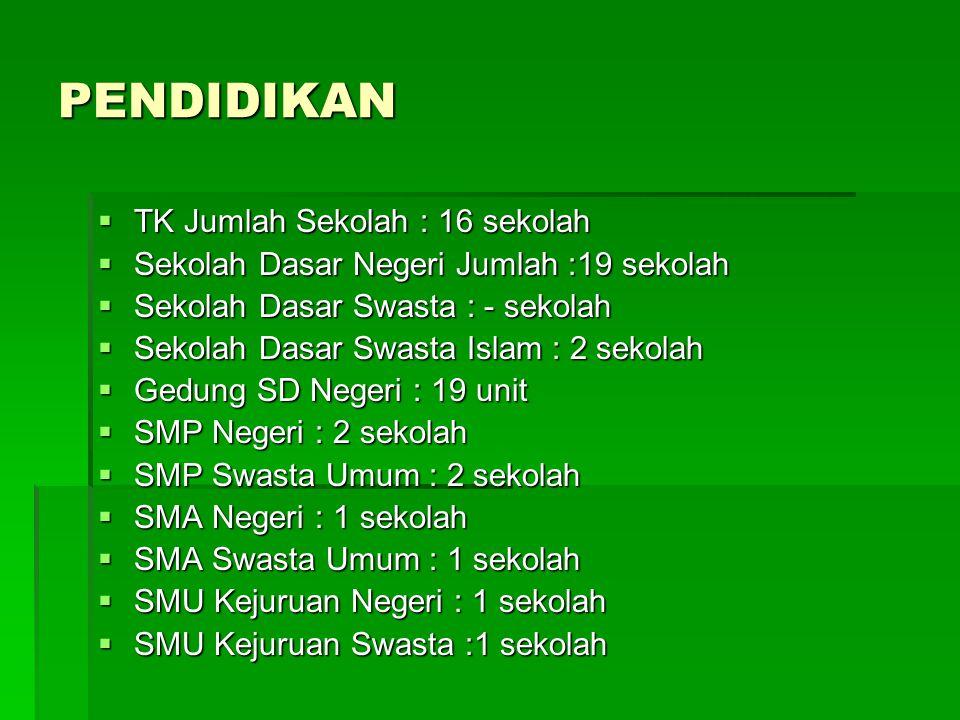 PENDIDIKAN  TK Jumlah Sekolah : 16 sekolah  Sekolah Dasar Negeri Jumlah :19 sekolah  Sekolah Dasar Swasta : - sekolah  Sekolah Dasar Swasta Islam