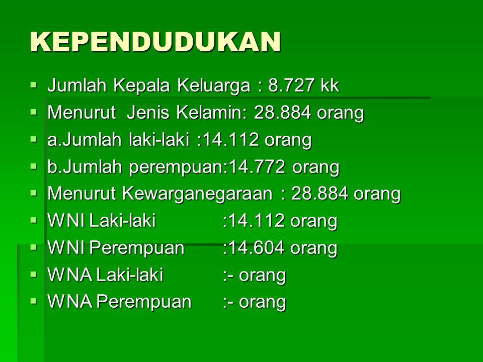 KEPENDUDUKAN  Jumlah Kepala Keluarga : 8.727 kk  Menurut Jenis Kelamin: 28.884 orang  a.Jumlah laki-laki :14.112 orang  b.Jumlah perempuan:14.772