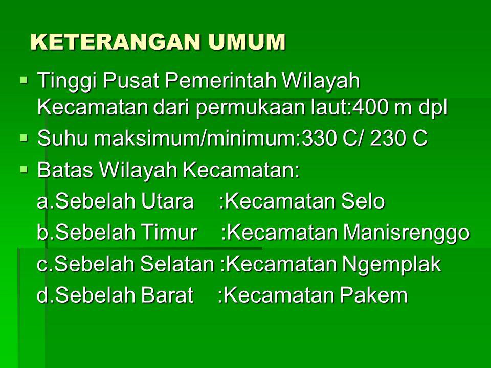 KETERANGAN UMUM  Tinggi Pusat Pemerintah Wilayah Kecamatan dari permukaan laut:400 m dpl  Suhu maksimum/minimum:330 C/ 230 C  Batas Wilayah Kecamat