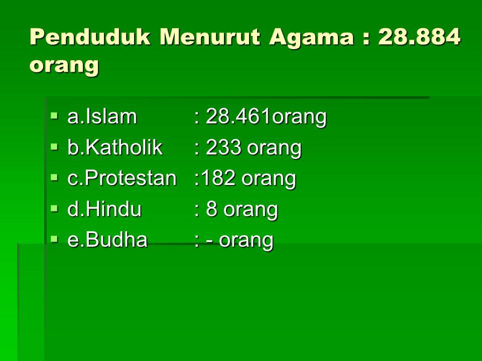 Penduduk Menurut Agama : 28.884 orang  a.Islam: 28.461orang  b.Katholik : 233 orang  c.Protestan :182 orang  d.Hindu : 8 orang  e.Budha : - orang