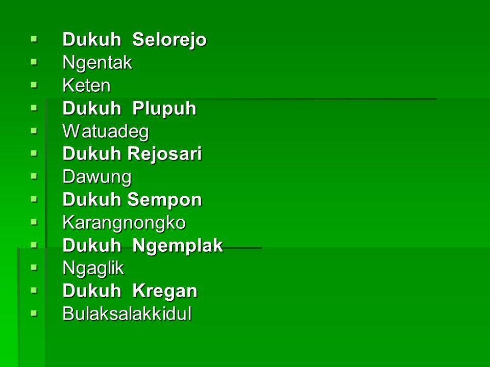  Dukuh Selorejo  Ngentak  Keten  Dukuh Plupuh  Watuadeg  Dukuh Rejosari  Dawung  Dukuh Sempon  Karangnongko  Dukuh Ngemplak  Ngaglik  Duku