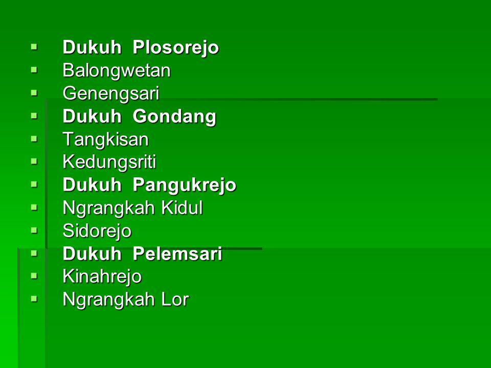  Dukuh Plosorejo  Balongwetan  Genengsari  Dukuh Gondang  Tangkisan  Kedungsriti  Dukuh Pangukrejo  Ngrangkah Kidul  Sidorejo  Dukuh Pelemsa