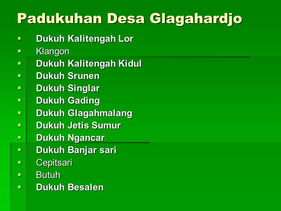Padukuhan Desa Glagahardjo  Dukuh Kalitengah Lor  Klangon  Dukuh Kalitengah Kidul  Dukuh Srunen  Dukuh Singlar  Dukuh Gading  Dukuh Glagahmalan