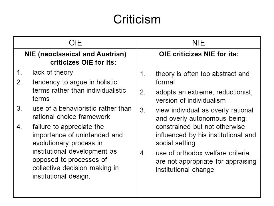 Criticism OIENIE NIE (neoclassical and Austrian) criticizes OIE for its: 1.lack of theory 2.tendency to argue in holistic terms rather than individual