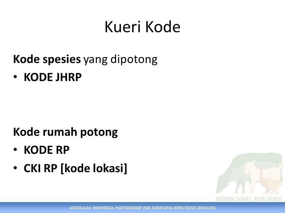 AUSTRALIA INDONESIA PARTNERSHIP FOR EMERGING INFECTIOUS DISEASES Kueri Kode Kode spesies yang dipotong KODE JHRP Kode rumah potong KODE RP CKI RP [kode lokasi]