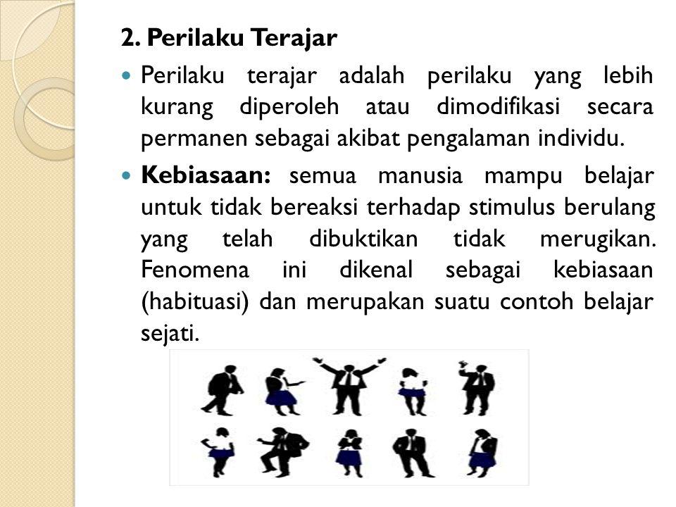 2. Perilaku Terajar Perilaku terajar adalah perilaku yang lebih kurang diperoleh atau dimodifikasi secara permanen sebagai akibat pengalaman individu.