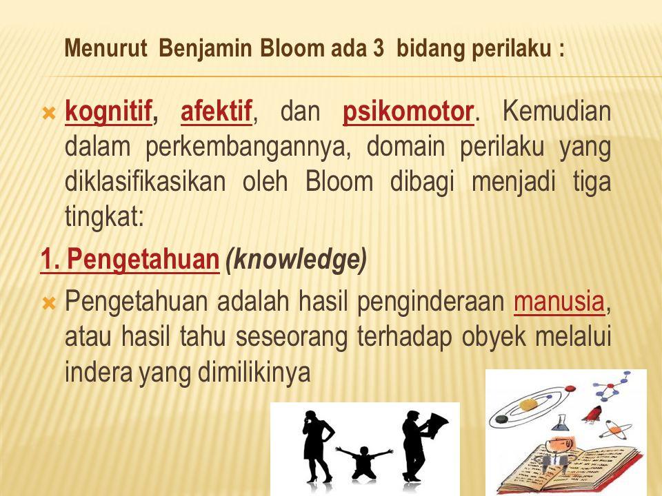  kognitif, afektif, dan psikomotor. Kemudian dalam perkembangannya, domain perilaku yang diklasifikasikan oleh Bloom dibagi menjadi tiga tingkat: kog