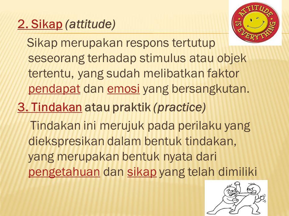 2. Sikap2. Sikap (attitude) Sikap merupakan respons tertutup seseorang terhadap stimulus atau objek tertentu, yang sudah melibatkan faktor pendapat da