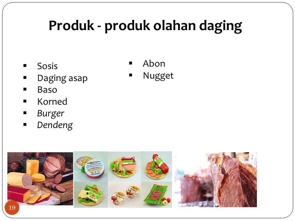  Sosis  Daging asap  Baso  Korned  Burger  Dendeng Produk - produk olahan daging  Abon  Nugget 19