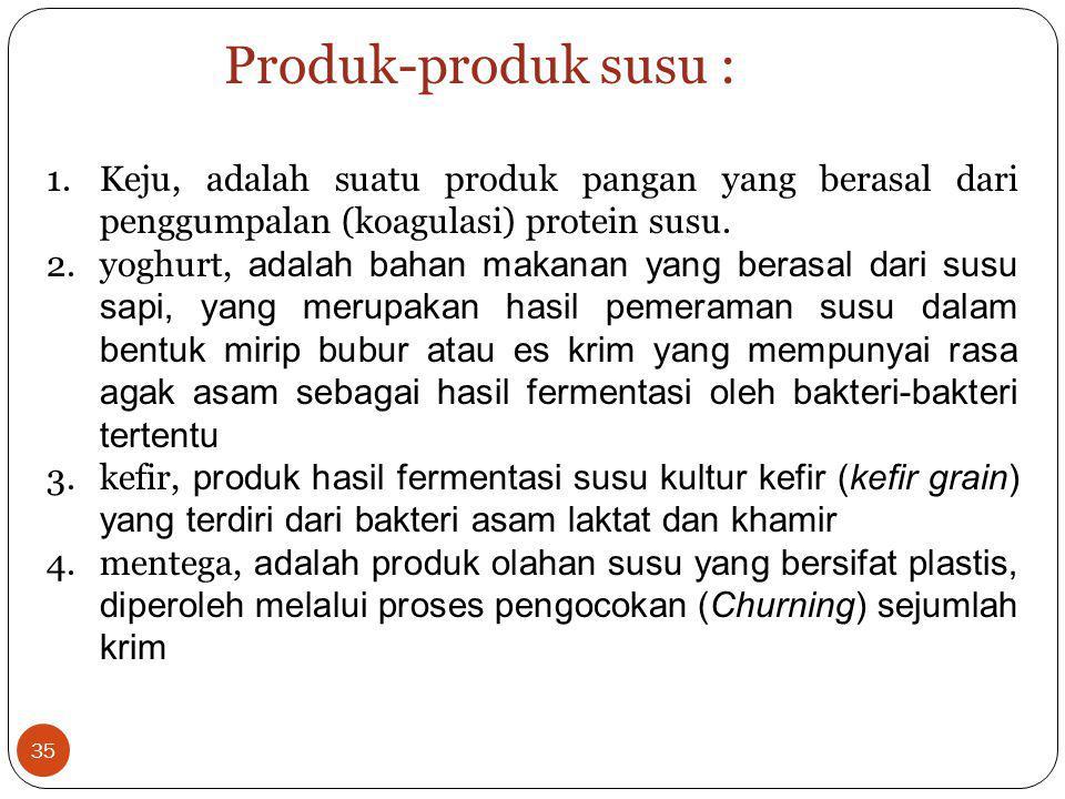 1.Keju, adalah suatu produk pangan yang berasal dari penggumpalan (koagulasi) protein susu. 2.yoghurt, adalah bahan makanan yang berasal dari susu sap