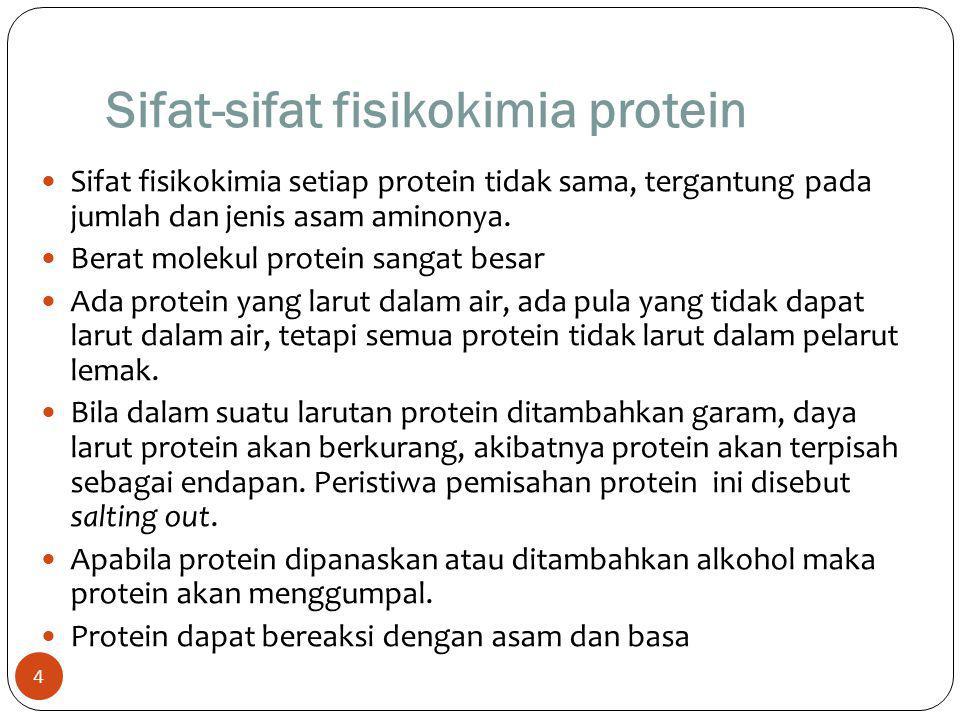 Sifat-sifat fisikokimia protein 4 Sifat fisikokimia setiap protein tidak sama, tergantung pada jumlah dan jenis asam aminonya. Berat molekul protein s