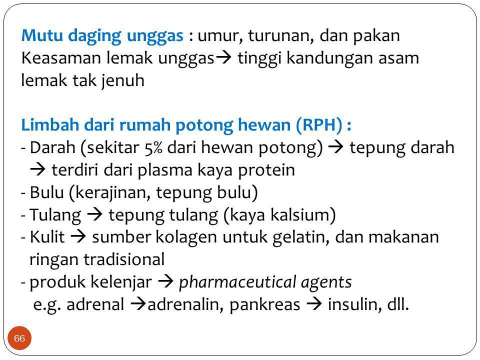Mutu daging unggas : umur, turunan, dan pakan Keasaman lemak unggas  tinggi kandungan asam lemak tak jenuh Limbah dari rumah potong hewan (RPH) : - D