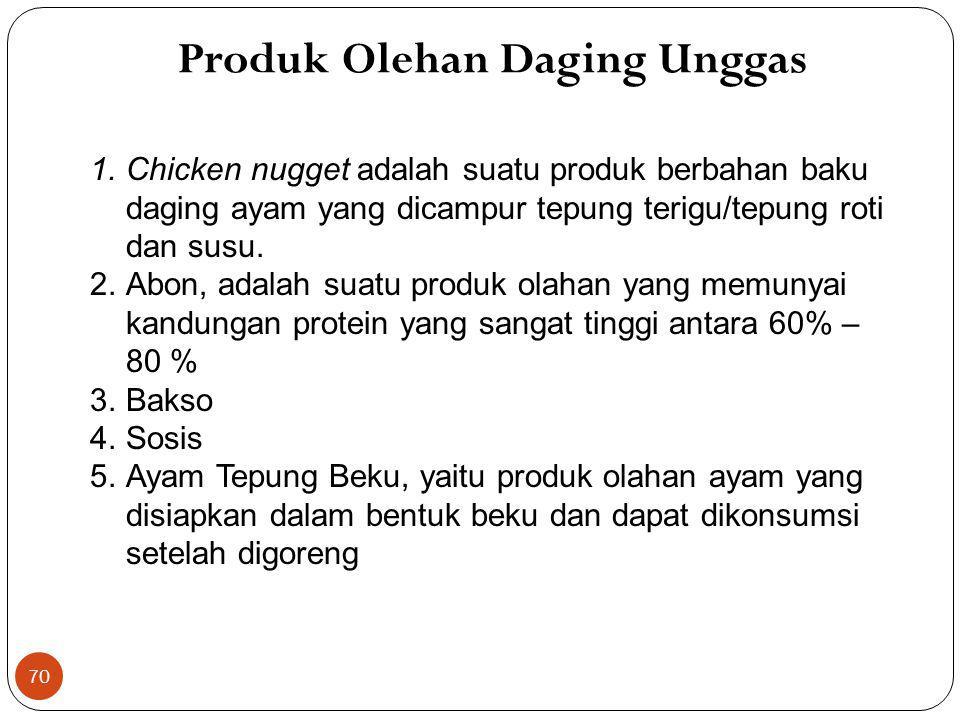 70 1.Chicken nugget adalah suatu produk berbahan baku daging ayam yang dicampur tepung terigu/tepung roti dan susu. 2.Abon, adalah suatu produk olahan