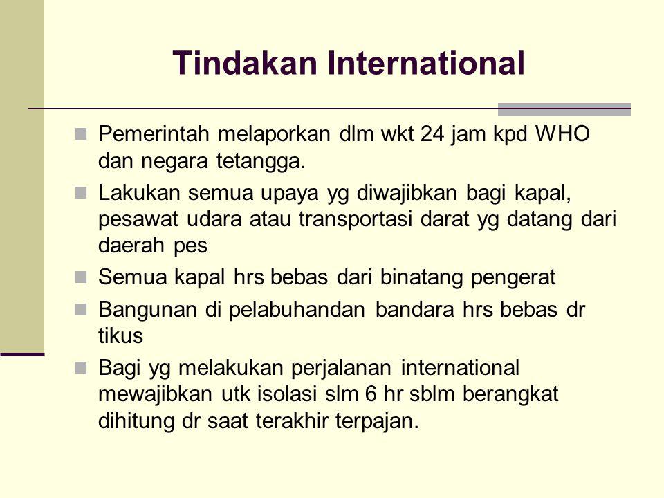 Tindakan International Pemerintah melaporkan dlm wkt 24 jam kpd WHO dan negara tetangga. Lakukan semua upaya yg diwajibkan bagi kapal, pesawat udara a