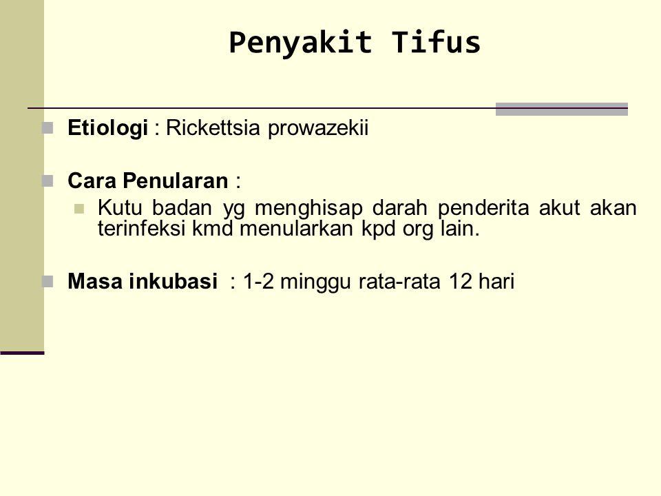 Penyakit Tifus Etiologi : Rickettsia prowazekii Cara Penularan : Kutu badan yg menghisap darah penderita akut akan terinfeksi kmd menularkan kpd org l