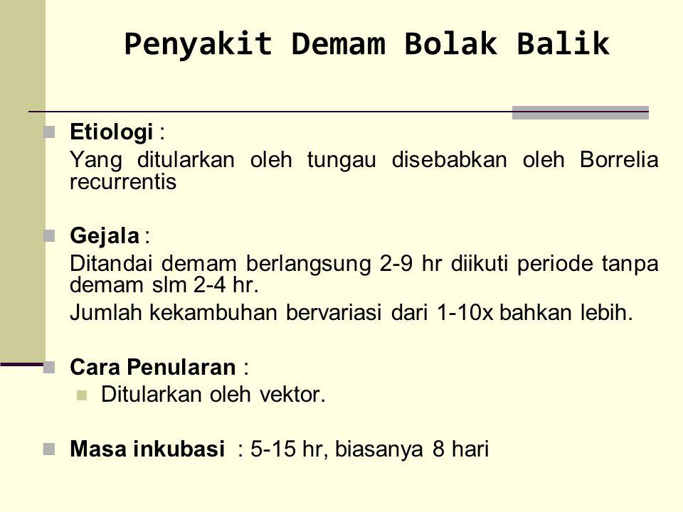 Penyakit Demam Bolak Balik Etiologi : Yang ditularkan oleh tungau disebabkan oleh Borrelia recurrentis Gejala : Ditandai demam berlangsung 2-9 hr diik
