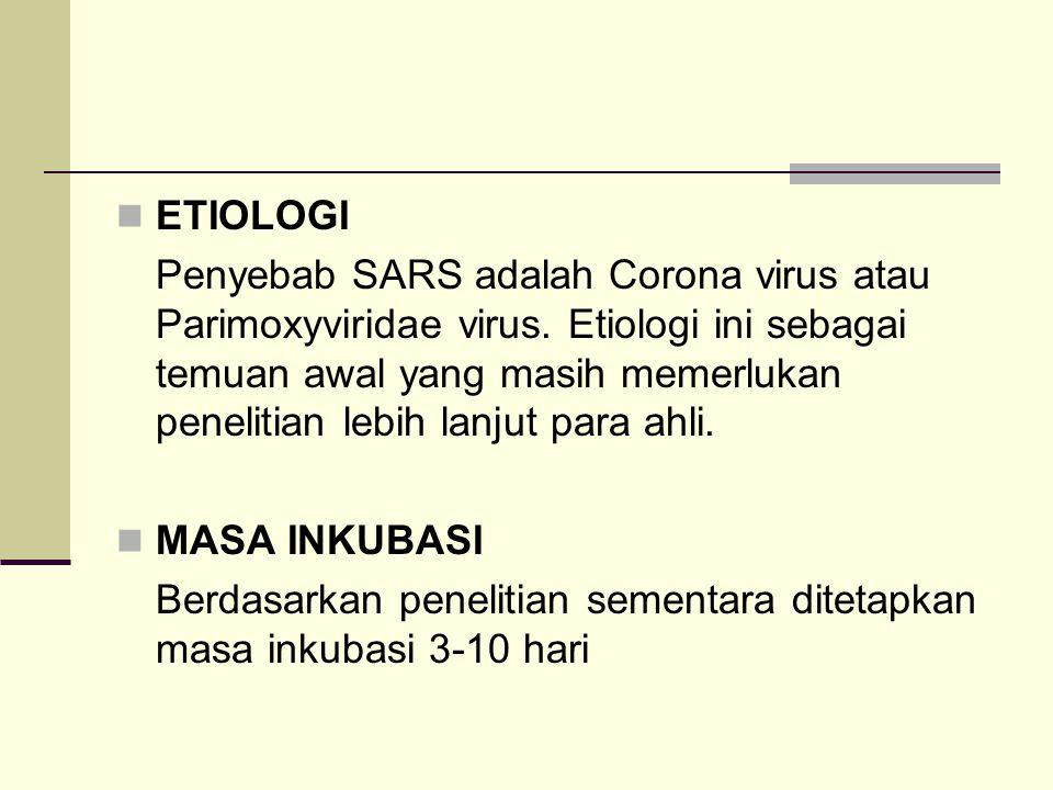 ETIOLOGI Penyebab SARS adalah Corona virus atau Parimoxyviridae virus. Etiologi ini sebagai temuan awal yang masih memerlukan penelitian lebih lanjut