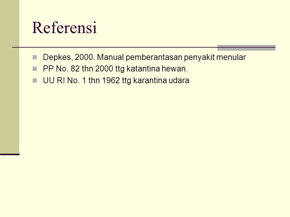Referensi Depkes, 2000. Manual pemberantasan penyakit menular PP No. 82 thn 2000 ttg katantina hewan. UU RI No. 1 thn 1962 ttg karantina udara