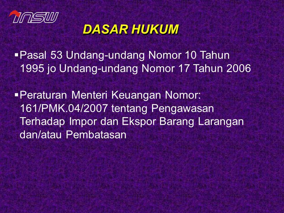 DASAR HUKUM  Pasal 53 Undang-undang Nomor 10 Tahun 1995 jo Undang-undang Nomor 17 Tahun 2006  Peraturan Menteri Keuangan Nomor: 161/PMK.04/2007 tent