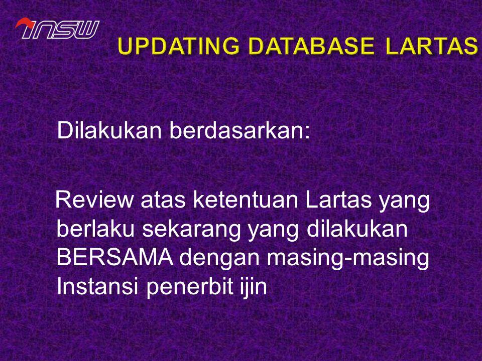 Dilakukan berdasarkan: Review atas ketentuan Lartas yang berlaku sekarang yang dilakukan BERSAMA dengan masing-masing Instansi penerbit ijin